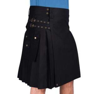 Black Cotton Utility Kilt