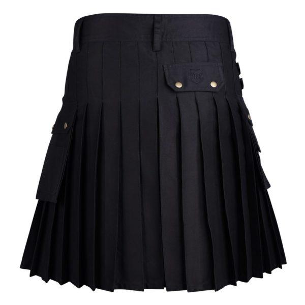 Black Cotton Utility Kilt