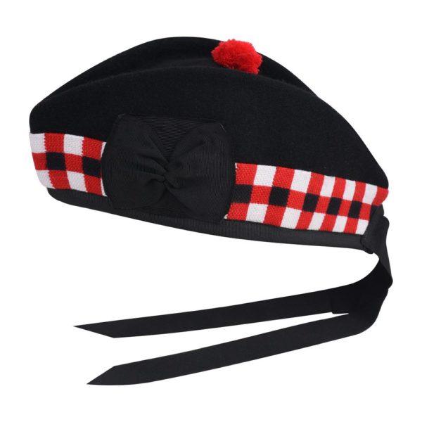 Black Tartan Red & White Dice Glengarry Cap