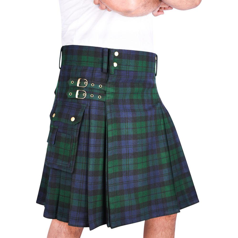 Tartanista Mens Black Plain or Embossed Utility Kilt Belt