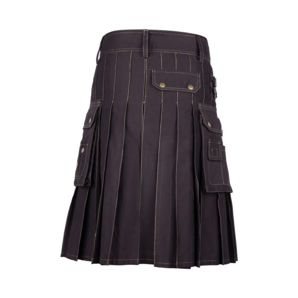 Brown Cotton Utility Kilt with Contrast Thread