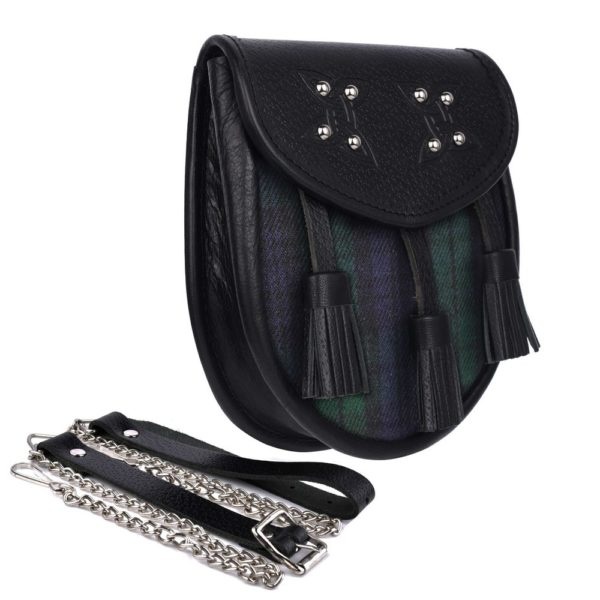 Genuine Leather with Black Watch Tartan Sporran