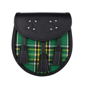 Genuine Leather with Irish National Green Tartan Sporran