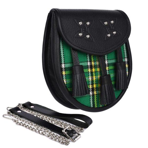Genuine Leather with Irish National Green Tartan Sporran