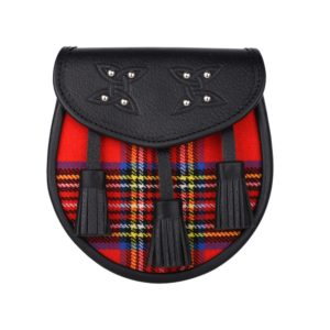 Genuine Leather with Royal Stewart Tartan Sporran