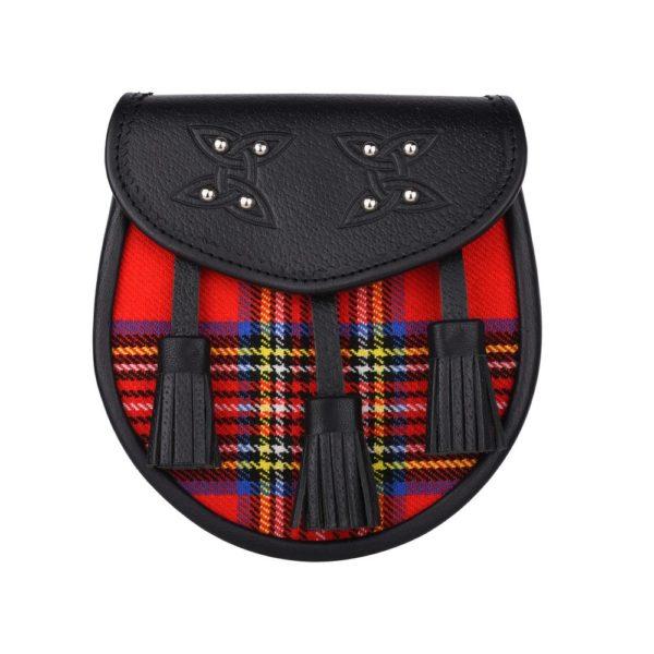 Genuine Leather with Royal Stewart Tartan Sporran
