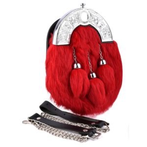 Genuine Red Rabbit Fur Sporran with three Tassels
