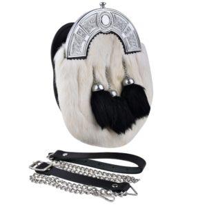 Genuine White Rabbit Fur Sporran with three Black Rabbit Fur Tassels