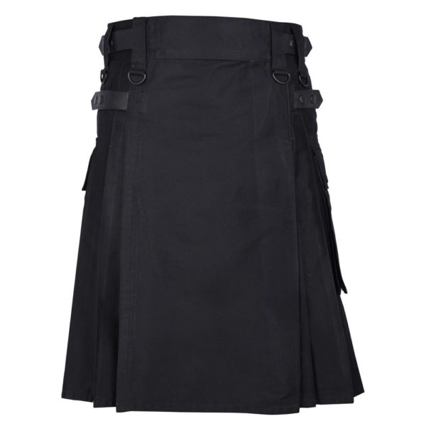 Men's Black Cotton Utility Kilt with Genuine Leather Straps & Cargo Pockets