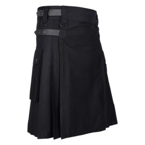 Men's Black Cotton Utility Kilt with Genuine Leather Straps & Cargo Pockets