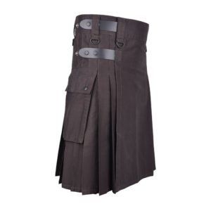 Men's Brown Cotton Utility Kilt with Genuine Leather Straps & Cargo Pockets
