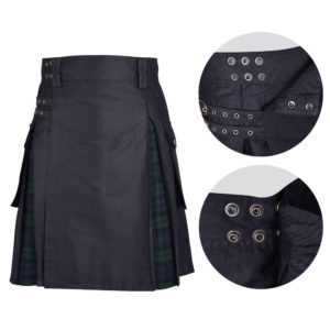 Men's Hybrid Black Cotton & Black Watch Tartan Utility Kilt