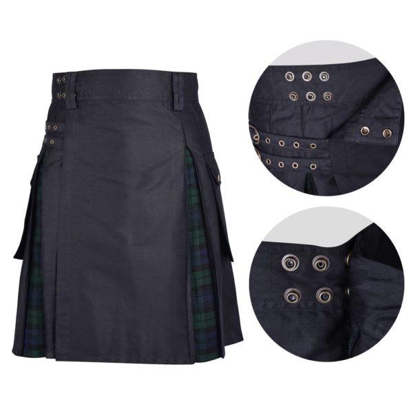 Men's Hybrid Black Cotton & Black Watch Tartan Utility Kilt