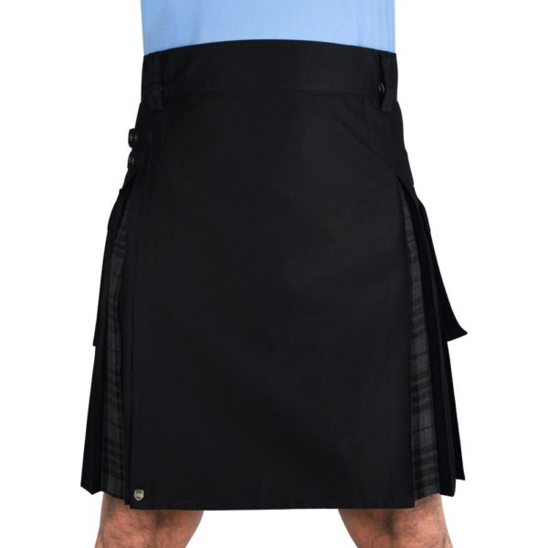 Men's Hybrid Black Cotton & Grey Watch Tartan Utility Kilt