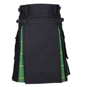 Men's Hybrid Black Cotton & Irish National Green Tartan Kilt With Leather Straps & Cargo Pockets