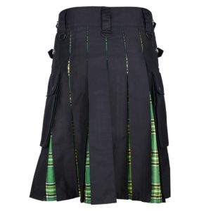 Men's Hybrid Black Cotton & Irish National Green Tartan Kilt With Leather Straps & Cargo Pockets