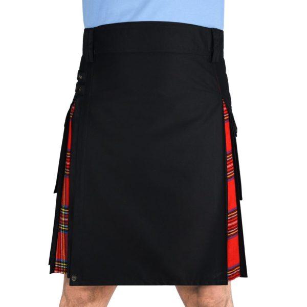 Men's Hybrid Black Cotton & Royal Stewart Tartan Utility Kilt