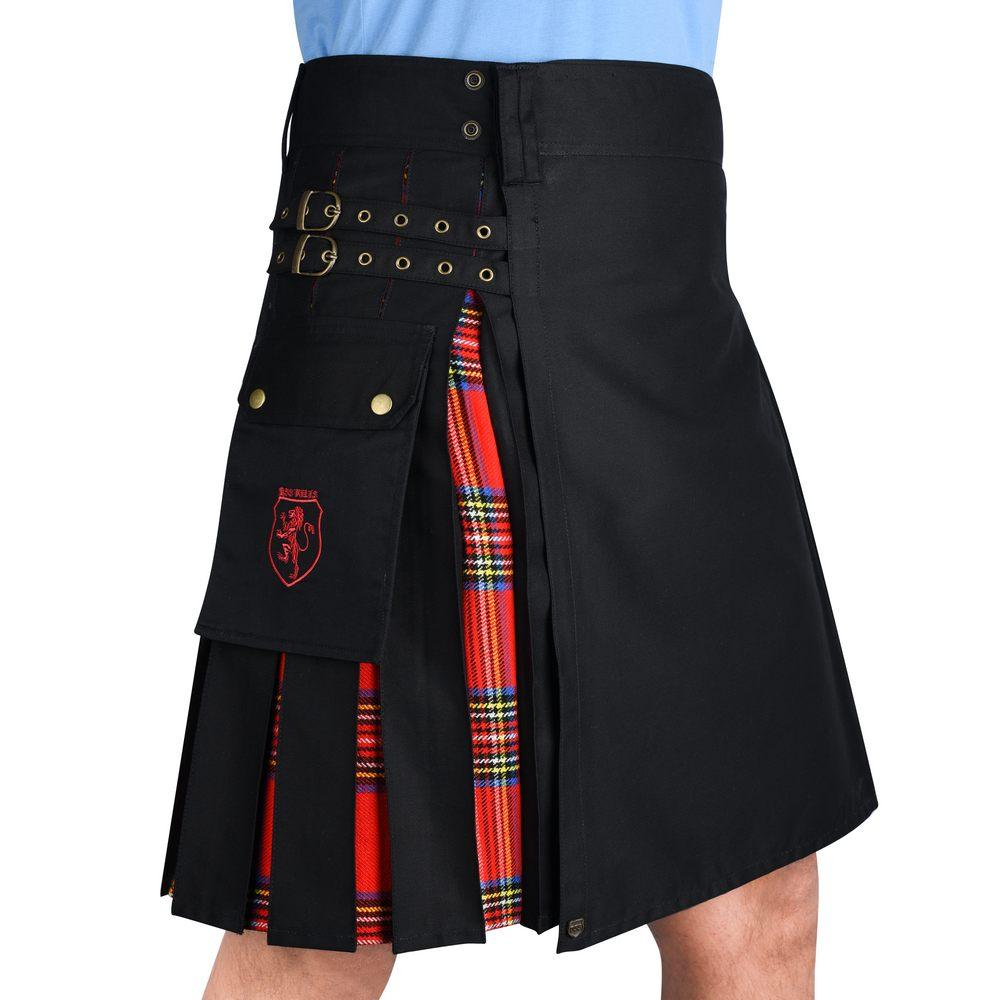 Details about  /Scottish Kilt For Men Black Cotton /& Royal Stewart Tartan UTILITY Hybrid KILT