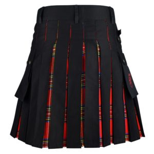 Men's Hybrid Black Cotton & Royal Stewart Tartan Utility Kilt