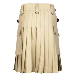 Men's Khaki Cotton Utility Kilt with Genuine Leather Straps & Cargo Pockets -