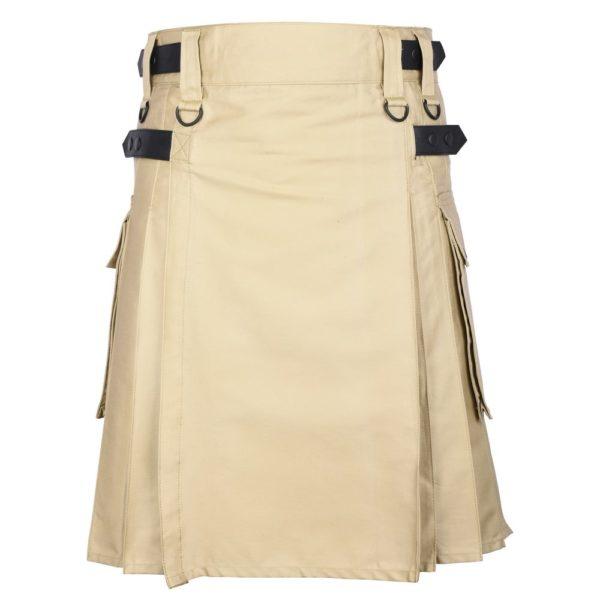 Men's Khaki Cotton Utility Kilt with Genuine Leather Straps & Cargo Pockets -