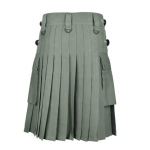 Men's Olive Green Cotton Utility Kilt with Genuine Leather Straps & Cargo Pockets
