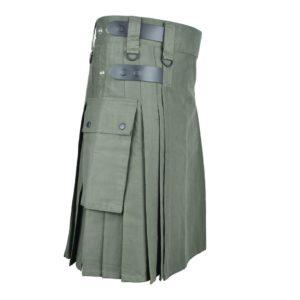 Men's Olive Green Cotton Utility Kilt with Genuine Leather Straps & Cargo Pockets