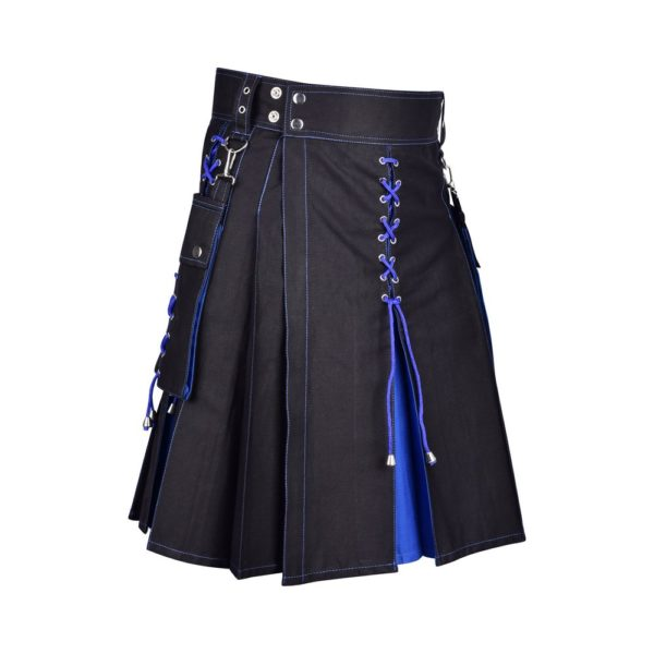 Men's Two Tone Blue and Black Utility Cotton Kilt with Detachable Pockets