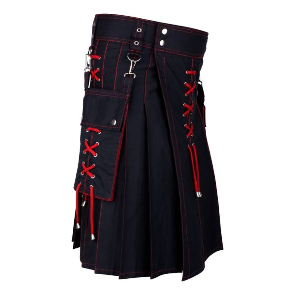Men's Two Tone Red and Black Utility Cotton Kilt with Detachable Pockets