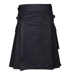 Men's Scottish Black Denim Utility Kilt with Leather Strap