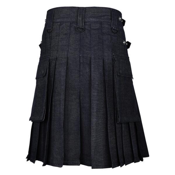 Men's Scottish Black Denim Utility Kilt with Leather Strap Back