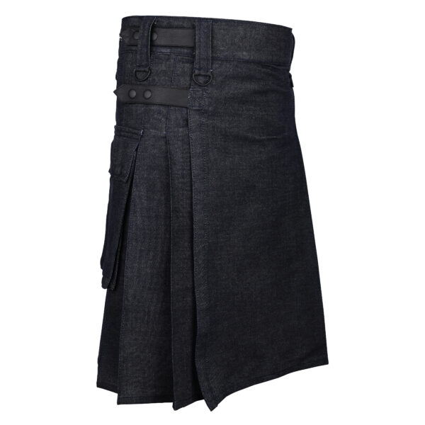 Men's Scottish Black Denim Utility Kilt with Leather Strap Side