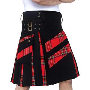 Men's Modern Hybird Cotton & Pride of Scotland Tartan Cross Strip Designers Wedding Kilt DSS