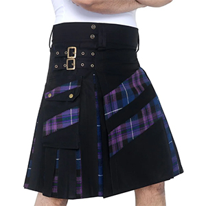 Men's Modern Hybird Cotton & Pride of Scotland Tartan Cross Strip Designers Wedding KiltDSS
